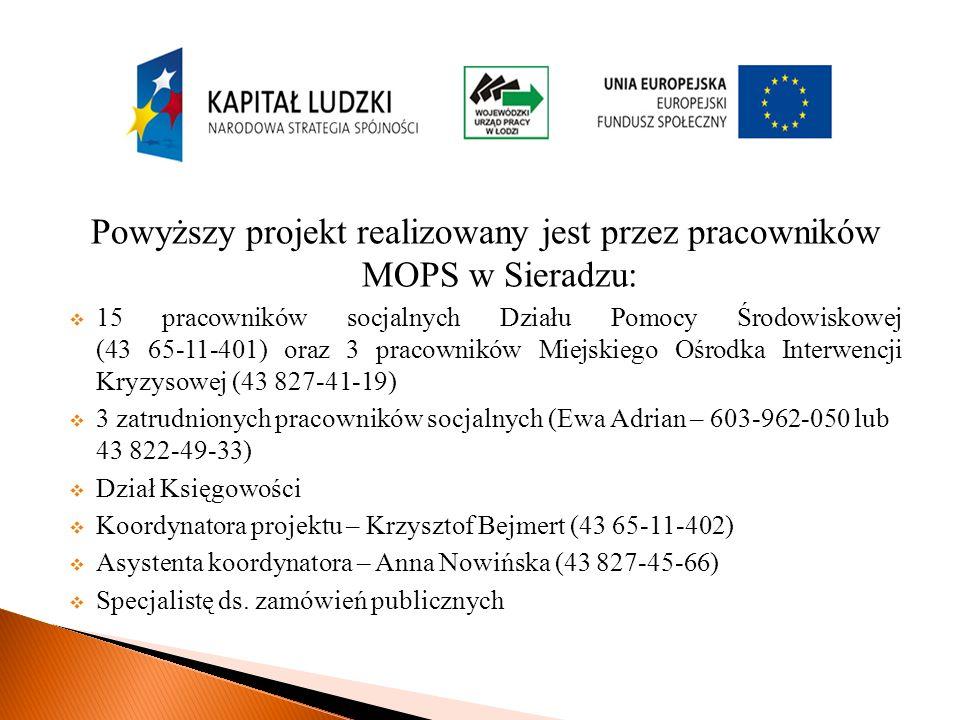 Powyższy projekt realizowany jest przez pracowników MOPS w Sieradzu: 15 pracowników socjalnych Działu Pomocy Środowiskowej (43 65-11-401) oraz 3 pracowników Miejskiego Ośrodka Interwencji Kryzysowej (43 827-41-19) 3 zatrudnionych pracowników socjalnych (Ewa Adrian – 603-962-050 lub 43 822-49-33) Dział Księgowości Koordynatora projektu – Krzysztof Bejmert (43 65-11-402) Asystenta koordynatora – Anna Nowińska (43 827-45-66) Specjalistę ds.