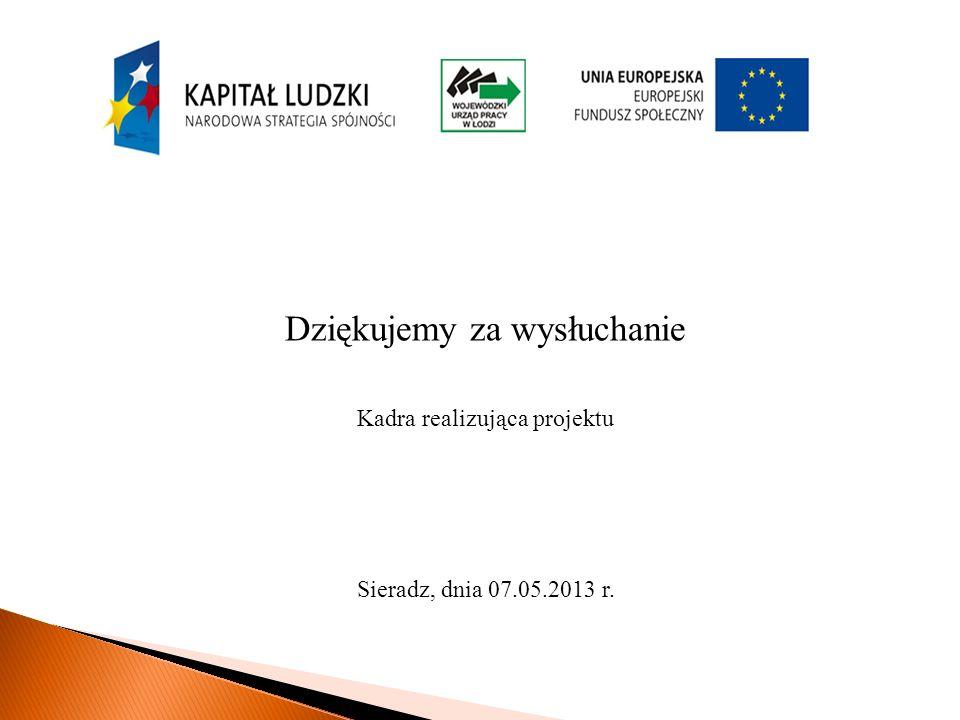 Dziękujemy za wysłuchanie Kadra realizująca projektu Sieradz, dnia 07.05.2013 r.