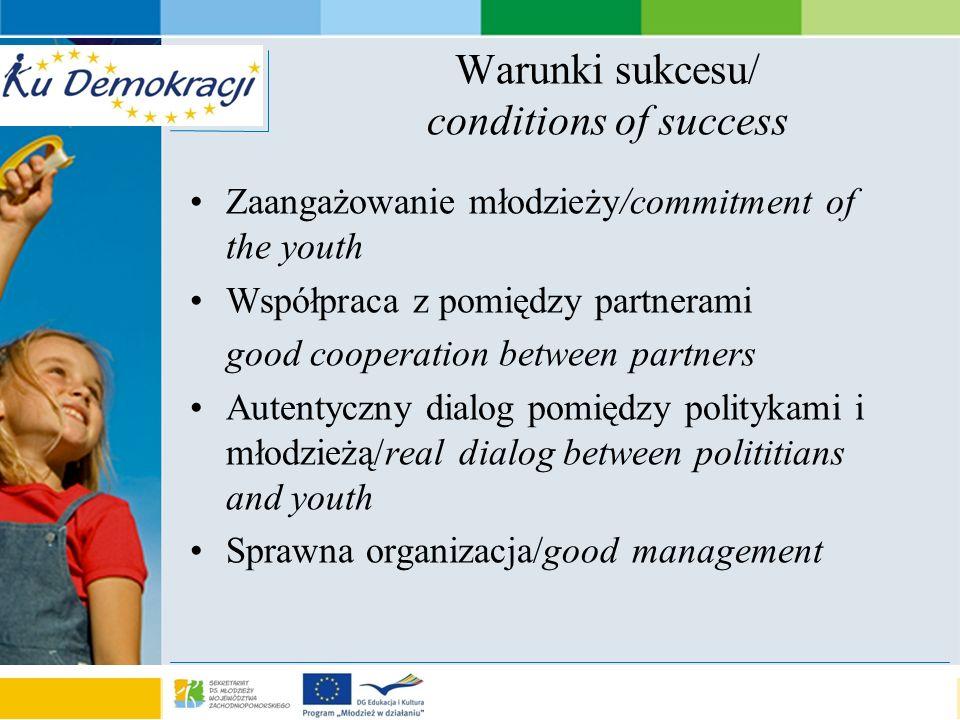 s e a o f a d v e n t u r e Warunki sukcesu/ conditions of success Zaangażowanie młodzieży/commitment of the youth Współpraca z pomiędzy partnerami go