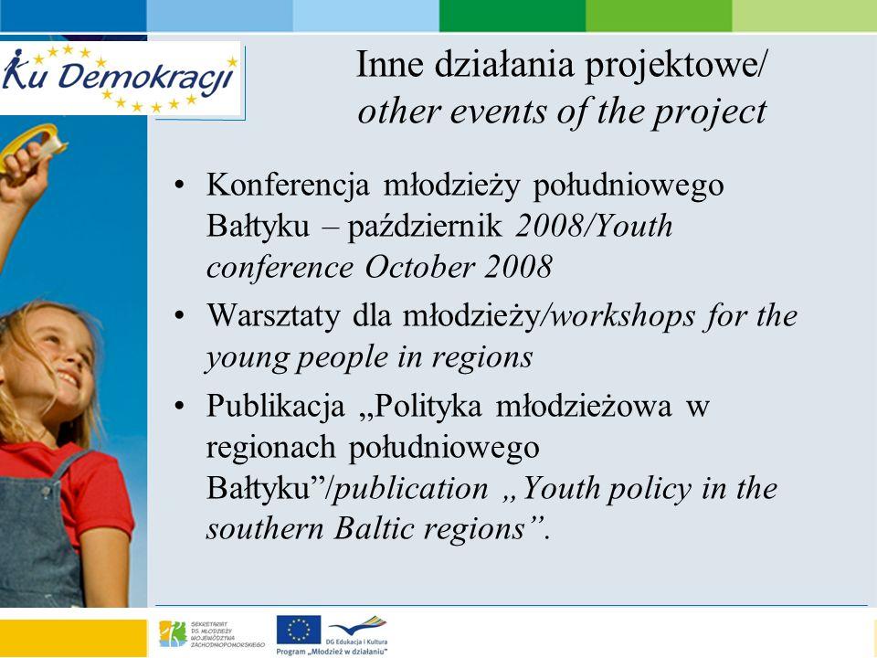 s e a o f a d v e n t u r e Inne działania projektowe/ other events of the project Konferencja młodzieży południowego Bałtyku – październik 2008/Youth