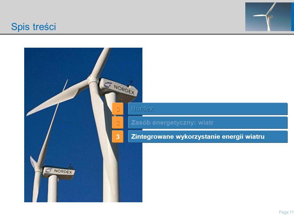 Page 11 nordisch\Presentations\IP Presentation Nordex\21 Roadshow Pres Nordex_May2006.ppt Spis treści Zintegrowane wykorzystanie energii wiatru 3 Zasób energetyczny: wiatr