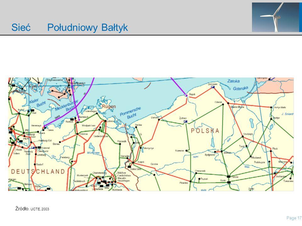 Page 17 nordisch\Presentations\IP Presentation Nordex\21 Roadshow Pres Nordex_May2006.ppt Sieć Południowy Bałtyk Źródło : UCTE, 2003