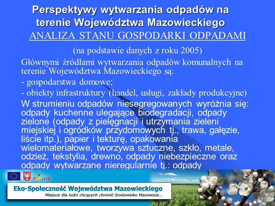 Perspektywy wytwarzania odpadów na terenie Województwa Mazowieckiego ANALIZA STANU GOSPODARKI ODPADAMI Zgodnie z danymi zamieszczonymi w krajowym planie gospodarki odpadami w Województwie Mazowieckim (bez Warszawy) w 2005r zebrano ogółem 935 979 Mg odpadów komunalnych, w tym: - niesegregowane odpady komunale – 842 525 Mg - odpady wielkogabarytowe – 42 804 Mg - odpady usług komunalnych – 50 650 Mg Ponadto zebrano selektywnie 53379 Mg odpadów.