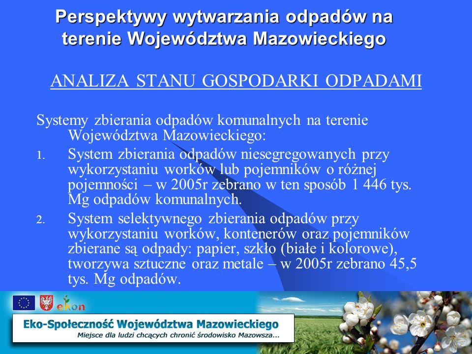 Perspektywy wytwarzania odpadów na terenie Województwa Mazowieckiego ANALIZA STANU GOSPODARKI ODPADAMI Systemy zbierania odpadów komunalnych na terenie Województwa Mazowieckiego: 1.