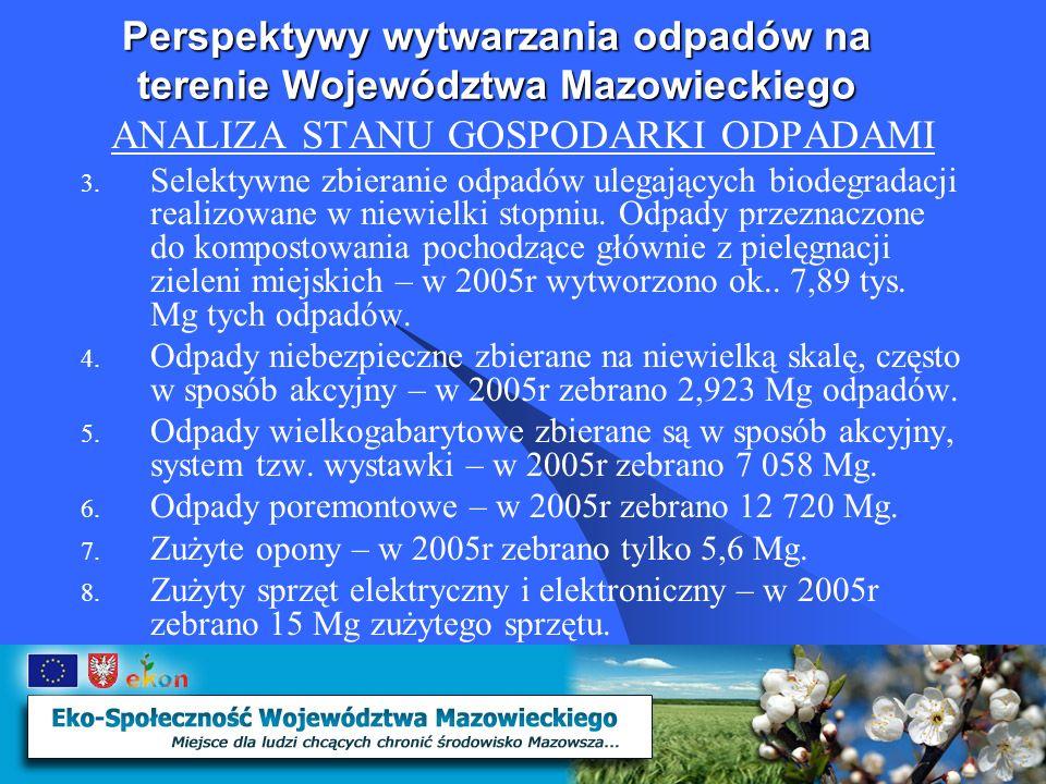 Perspektywy wytwarzania odpadów na terenie Województwa Mazowieckiego ANALIZA STANU GOSPODARKI ODPADAMI 3.