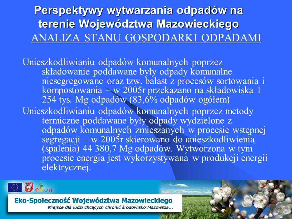 Perspektywy wytwarzania odpadów na terenie Województwa Mazowieckiego ANALIZA STANU GOSPODARKI ODPADAMI Unieszkodliwianiu odpadów komunalnych poprzez składowanie poddawane były odpady komunalne niesegregowane oraz tzw.