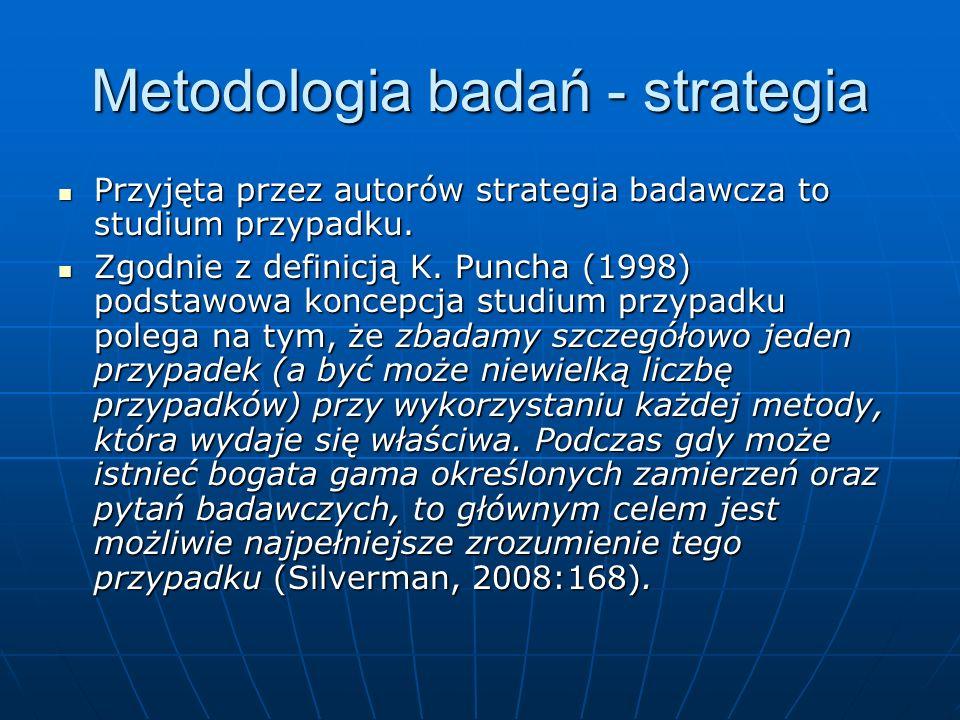 Metodologia badań - strategia Przyjęta przez autorów strategia badawcza to studium przypadku. Przyjęta przez autorów strategia badawcza to studium prz