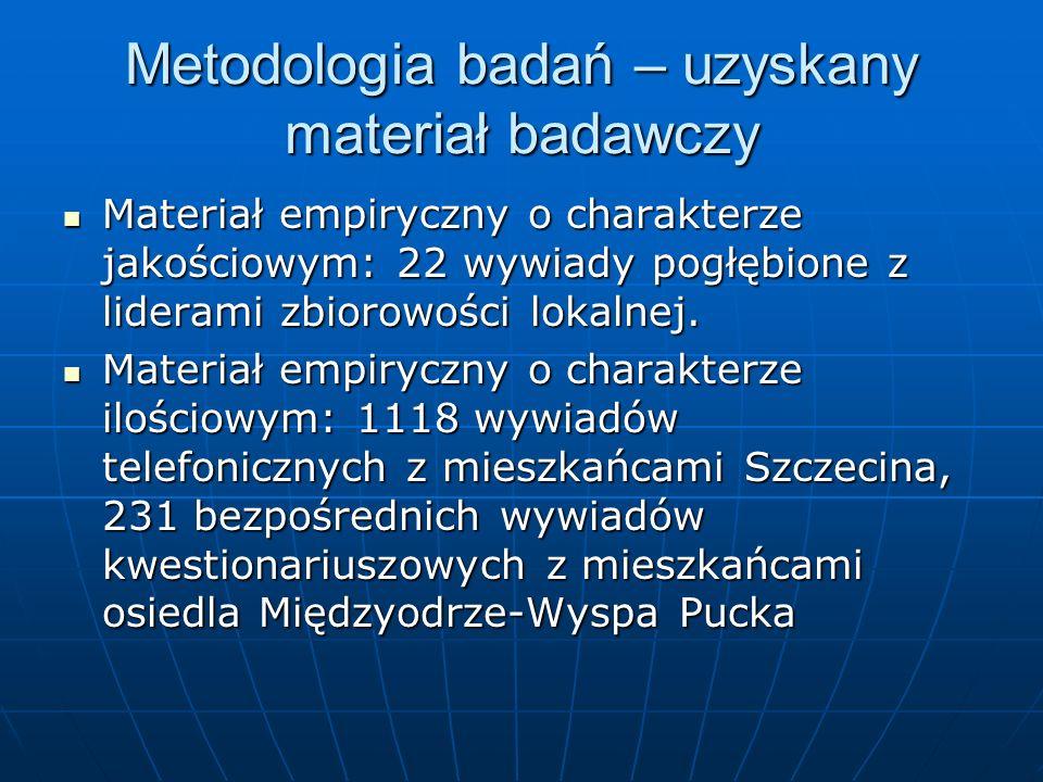 Ramy czasowe badań Analiza danych zastanych (zapoznanie się z materiałami prasowymi, zwiad socjologiczny, analiza treści forum internetowego egos.pl) – od XII 2008 do I 2009 Analiza danych zastanych (zapoznanie się z materiałami prasowymi, zwiad socjologiczny, analiza treści forum internetowego egos.pl) – od XII 2008 do I 2009 Wywiady pogłębione z liderami zbiorowości lokalnej – od I do III 2009 Wywiady pogłębione z liderami zbiorowości lokalnej – od I do III 2009 Badanie sondażowe na mieszkańcach Szczecina – od III do IV 2009 Badanie sondażowe na mieszkańcach Szczecina – od III do IV 2009 Badanie sondażowe na mieszkańcach osiedla Międzyodrze-Wyspa Pucka – od IV do VI 2009 Badanie sondażowe na mieszkańcach osiedla Międzyodrze-Wyspa Pucka – od IV do VI 2009