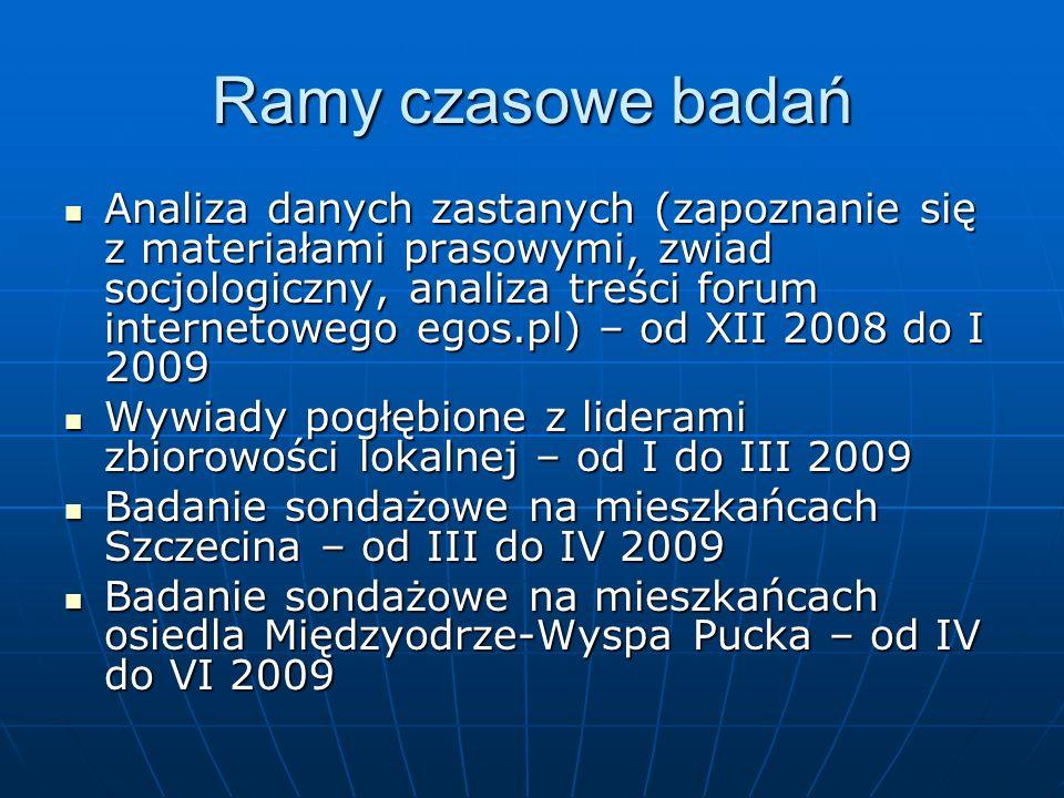 Ramy czasowe badań Analiza danych zastanych (zapoznanie się z materiałami prasowymi, zwiad socjologiczny, analiza treści forum internetowego egos.pl)