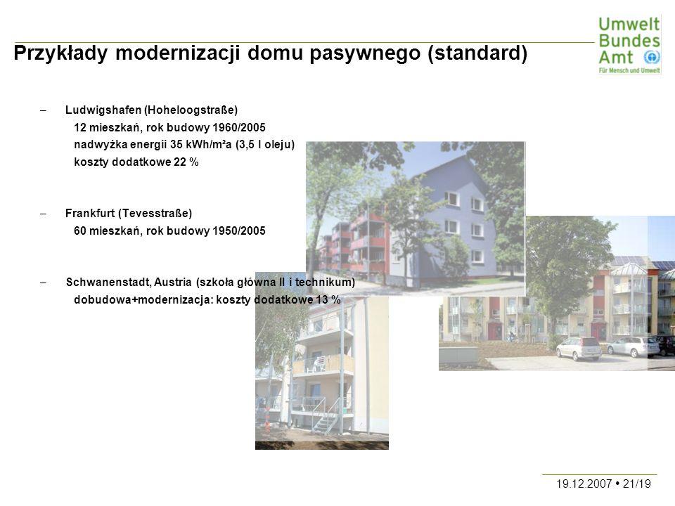 19.12.2007 21/19 Przykłady modernizacji domu pasywnego (standard) –Ludwigshafen (Hoheloogstraße) 12 mieszkań, rok budowy 1960/2005 nadwyżka energii 35 kWh/m²a (3,5 l oleju) koszty dodatkowe 22 % –Frankfurt (Tevesstraße) 60 mieszkań, rok budowy 1950/2005 –Schwanenstadt, Austria (szkoła główna II i technikum) dobudowa+modernizacja: koszty dodatkowe 13 %