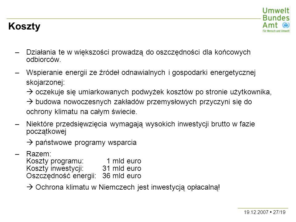 19.12.2007 27/19 Koszty –Działania te w większości prowadzą do oszczędności dla końcowych odbiorców.