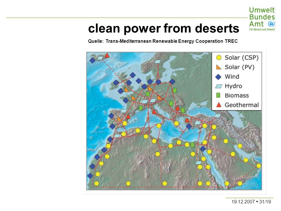 19.12.2007 31/19 clean power from deserts Quelle: Trans-Mediterranean Renewable Energy Cooperation TREC