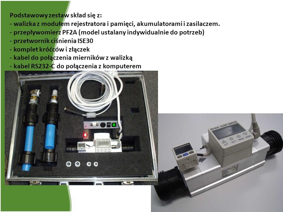 Podstawowy zestaw skład się z: - walizka z modułem rejestratora i pamięci, akumulatorami i zasilaczem. - przepływomierz PF2A (model ustalany indywidua