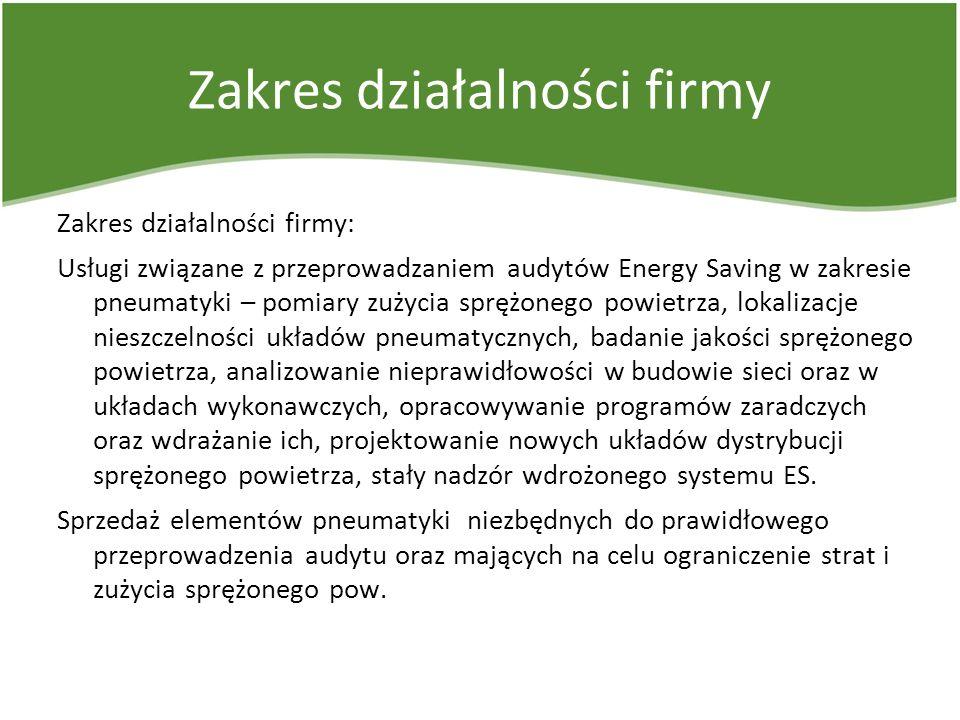 Zakres działalności firmy Zakres działalności firmy: Usługi związane z przeprowadzaniem audytów Energy Saving w zakresie pneumatyki – pomiary zużycia