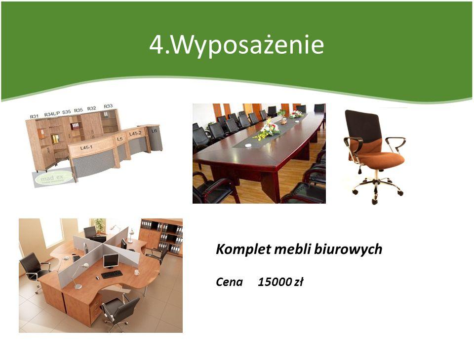4.Wyposażenie Komplet mebli biurowych Cena 15000 zł