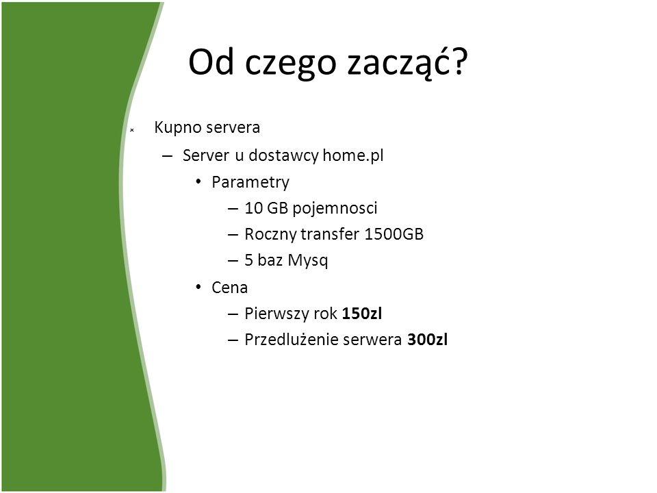 Od czego zacząć? Kupno servera – Server u dostawcy home.pl Parametry – 10 GB pojemnosci – Roczny transfer 1500GB – 5 baz Mysq Cena – Pierwszy rok 150z