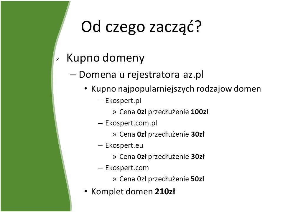 Od czego zacząć? Kupno domeny – Domena u rejestratora az.pl Kupno najpopularniejszych rodzajow domen – Ekospert.pl » Cena 0zl przedłużenie 100zl – Eko