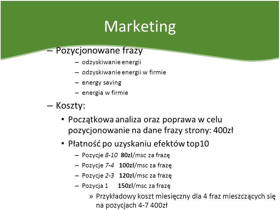 Marketing – Pozycjonowane frazy – odzyskiwanie energii – odzyskiwanie energii w firmie – energy saving – energia w firmie – Koszty: Początkowa analiza