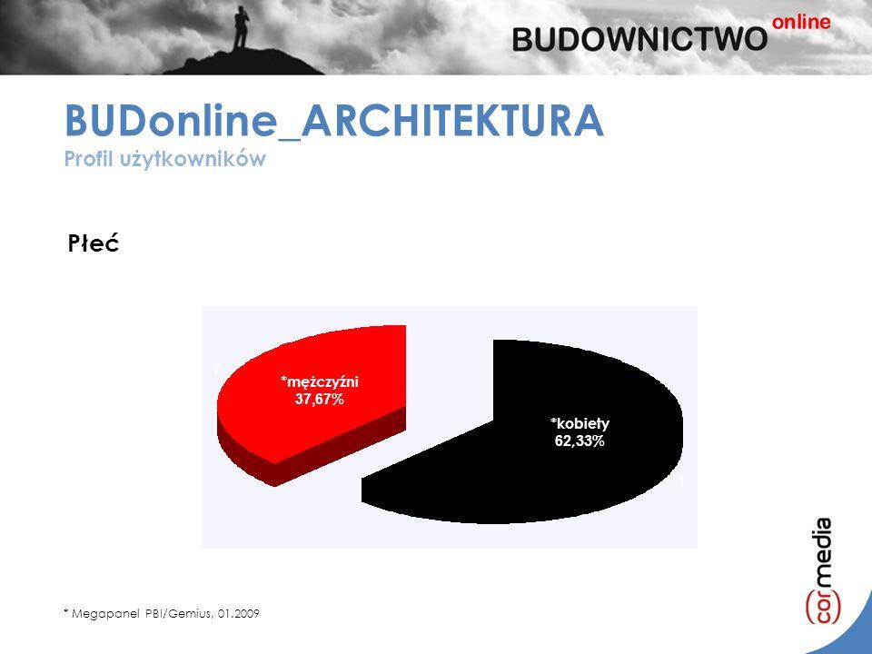 *kobiety 41,10% *mężczyźni 58,10% *mężczyźni 58,10% *kobiety 41,10% Płeć BUDonline_ARCHITEKTURA Profil użytkowników * Megapanel PBI/Gemius, 01.2009 *m