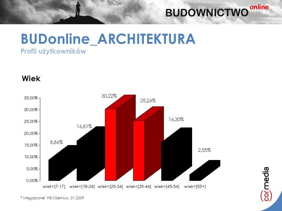 *mężczyźni 58,10% BUDonline_ARCHITEKTURA Profil użytkowników Wiek * Megapanel PBI/Gemius, 01.2009