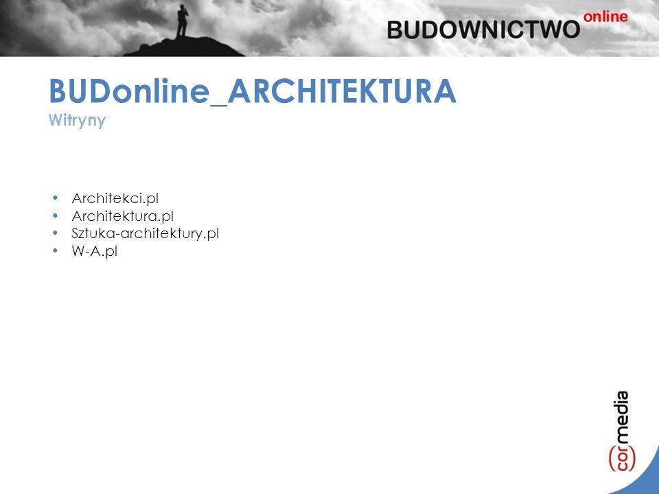 Architekci.pl Architektura.pl Sztuka-architektury.pl W-A.pl BUDonline_ARCHITEKTURA Witryny