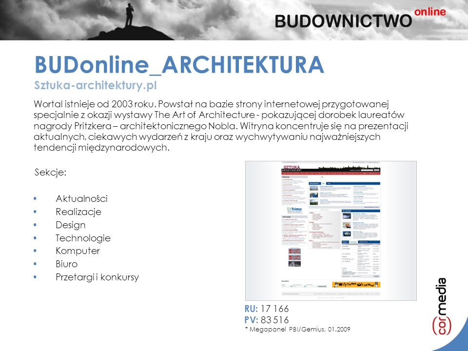 Wortal istnieje od 2003 roku. Powstał na bazie strony internetowej przygotowanej specjalnie z okazji wystawy The Art of Architecture - pokazującej dor