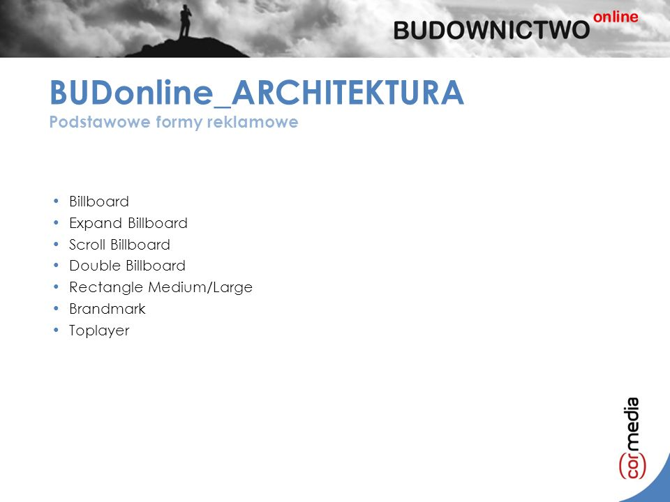 Billboard Expand Billboard Scroll Billboard Double Billboard Rectangle Medium/Large Brandmark Toplayer BUDonline_ARCHITEKTURA Podstawowe formy reklamo