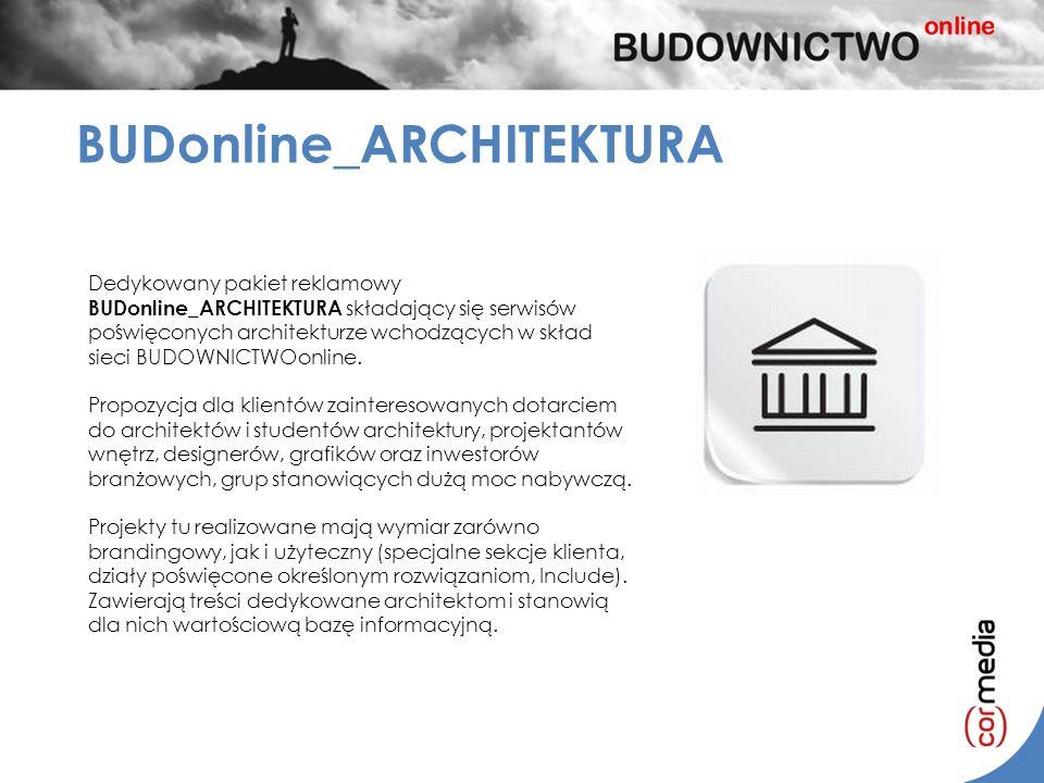 BUDonline_ARCHITEKTURA Dedykowany pakiet reklamowy BUDonline_ARCHITEKTURA składający się serwisów poświęconych architekturze wchodzących w skład sieci