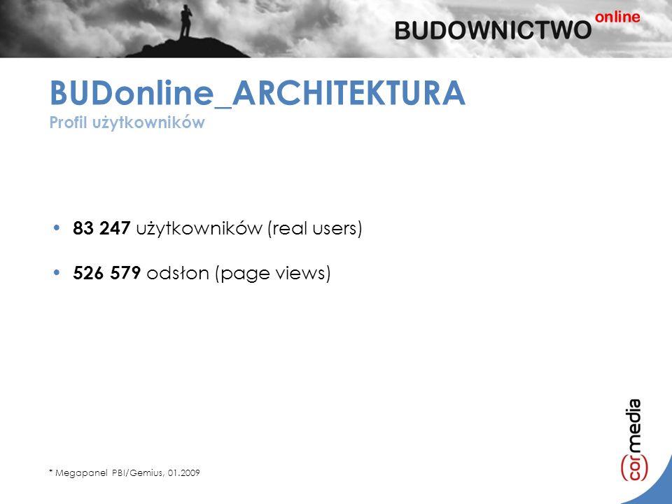 * Megapanel PBI/Gemius, 01.2009 83 247 użytkowników (real users) 526 579 odsłon (page views) BUDonline_ARCHITEKTURA Profil użytkowników