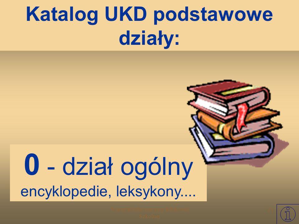 Warsztat Informacyjny Biblioteki Szkolnej 20 Uniwersalna Klasyfikacja Dziesiętna - ogłoszona w 1905 roku przez Międzynarodowy Instytut Bibliograficzny