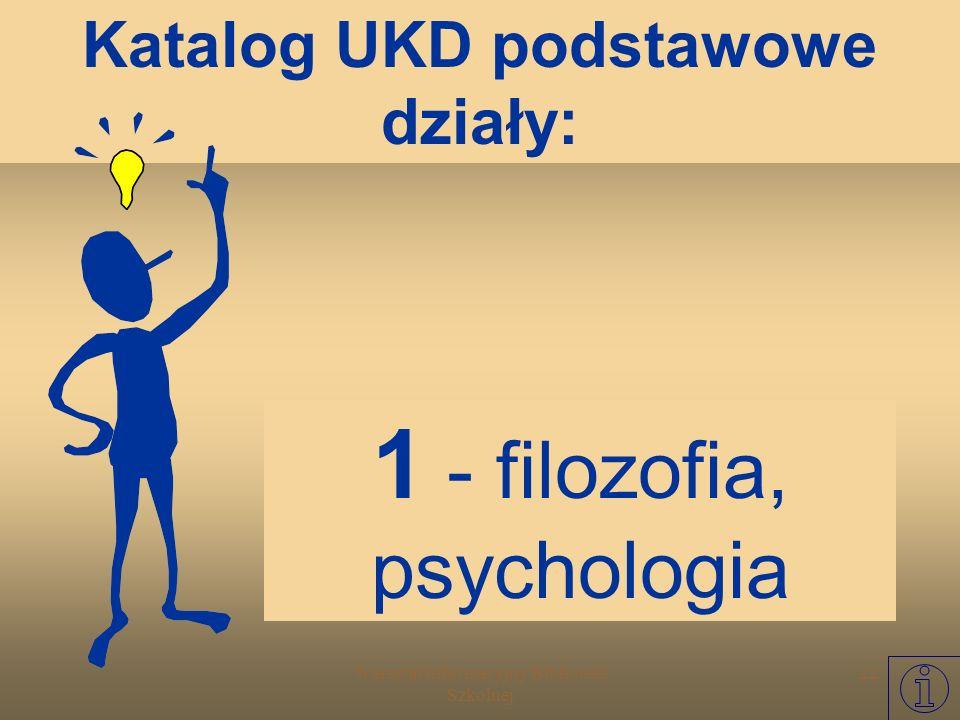 Warsztat Informacyjny Biblioteki Szkolnej 21 0 - dział ogólny encyklopedie, leksykony.... Katalog UKD podstawowe działy: