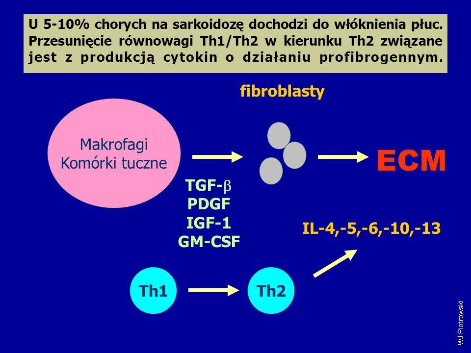 TGF- PDGF IGF-1 GM-CSF Makrofagi Komórki tuczne fibroblasty ECM Th1Th2 IL-4,-5,-6,-10,-13 WJ Piotrowski U 5-10% chorych na sarkoidozę dochodzi do włók