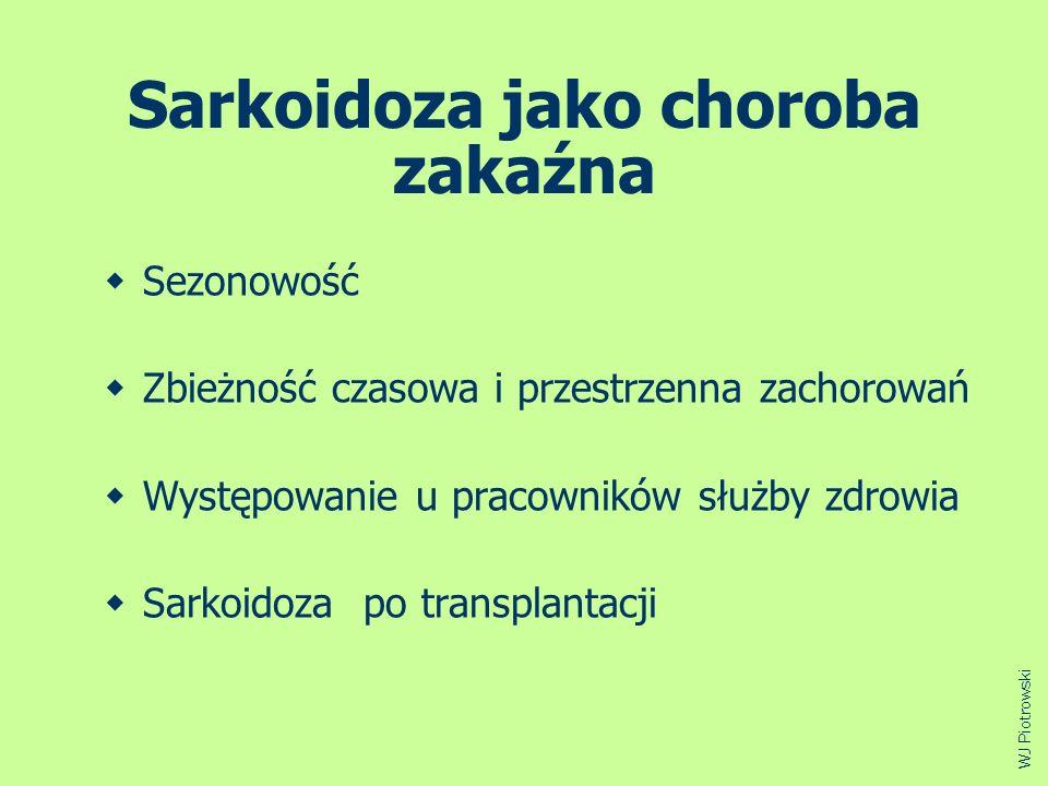 Sarkoidoza jako choroba zakaźna Sezonowość Zbieżność czasowa i przestrzenna zachorowań Występowanie u pracowników służby zdrowia Sarkoidoza po transpl