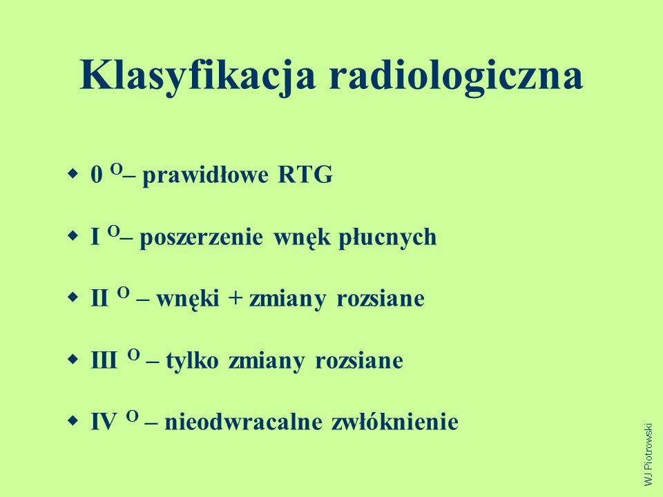 Klasyfikacja radiologiczna 0 O – prawidłowe RTG I O – poszerzenie wnęk płucnych II O – wnęki + zmiany rozsiane III O – tylko zmiany rozsiane IV O – ni