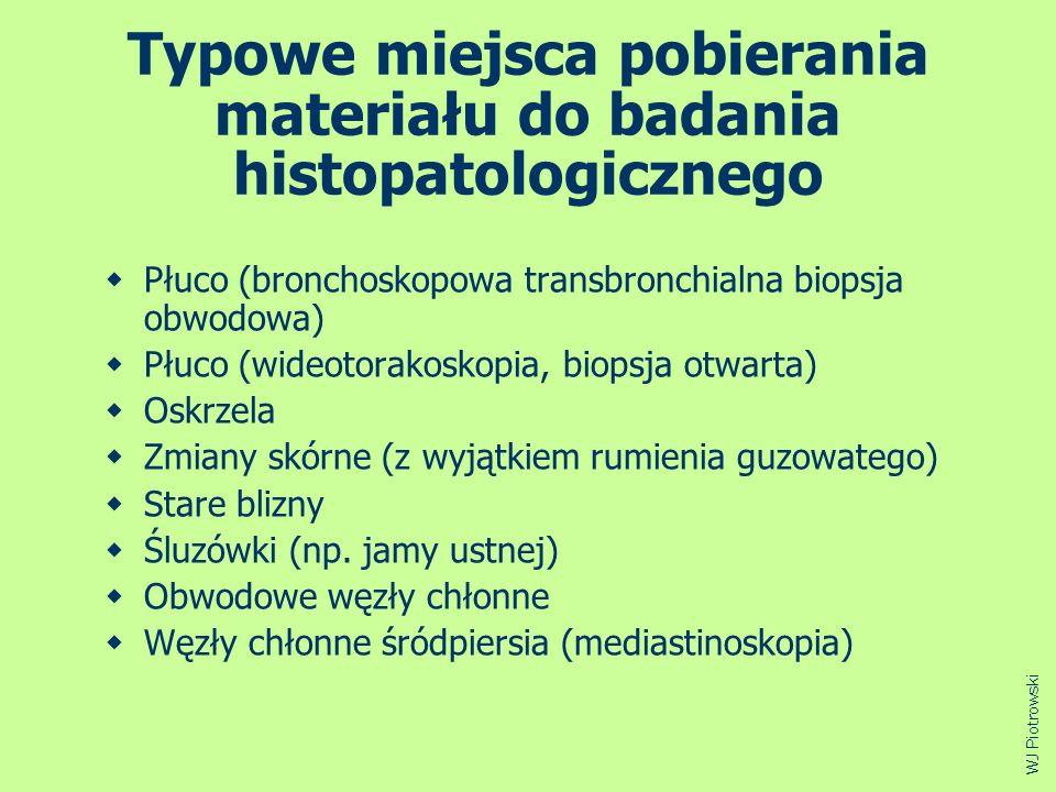 Typowe miejsca pobierania materiału do badania histopatologicznego Płuco (bronchoskopowa transbronchialna biopsja obwodowa) Płuco (wideotorakoskopia,
