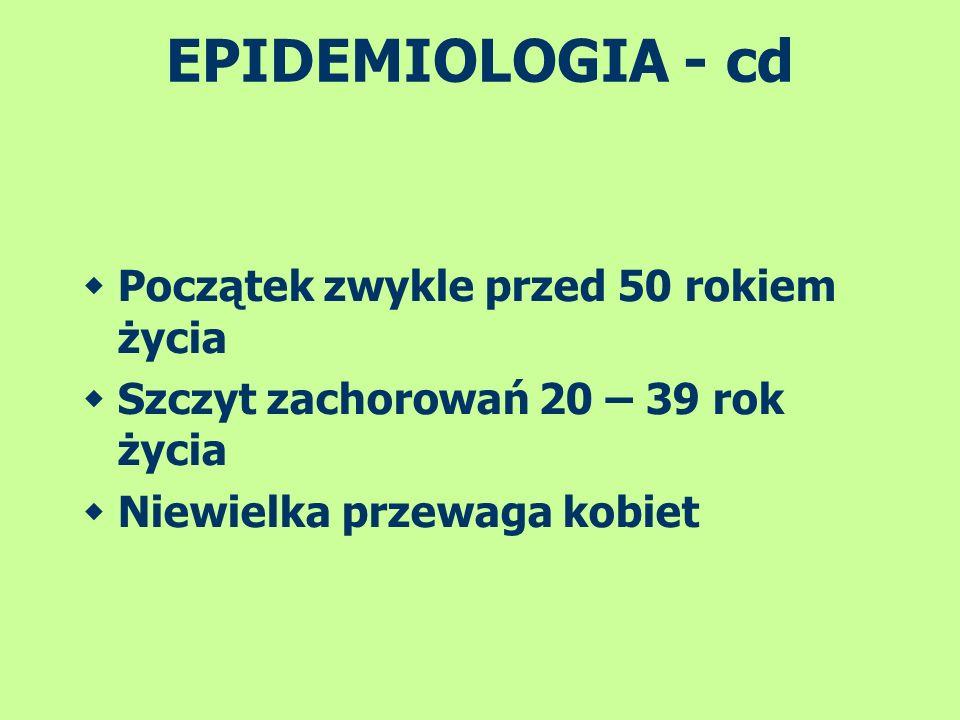 EPIDEMIOLOGIA - cd Początek zwykle przed 50 rokiem życia Szczyt zachorowań 20 – 39 rok życia Niewielka przewaga kobiet