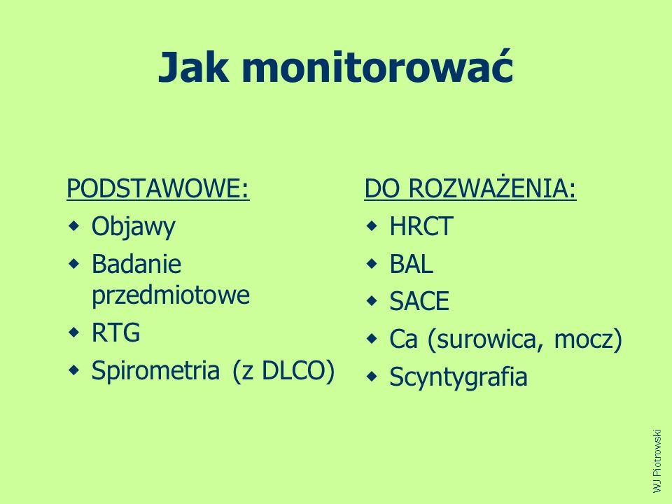 Jak monitorować PODSTAWOWE: Objawy Badanie przedmiotowe RTG Spirometria (z DLCO) DO ROZWAŻENIA: HRCT BAL SACE Ca (surowica, mocz) Scyntygrafia WJ Piot