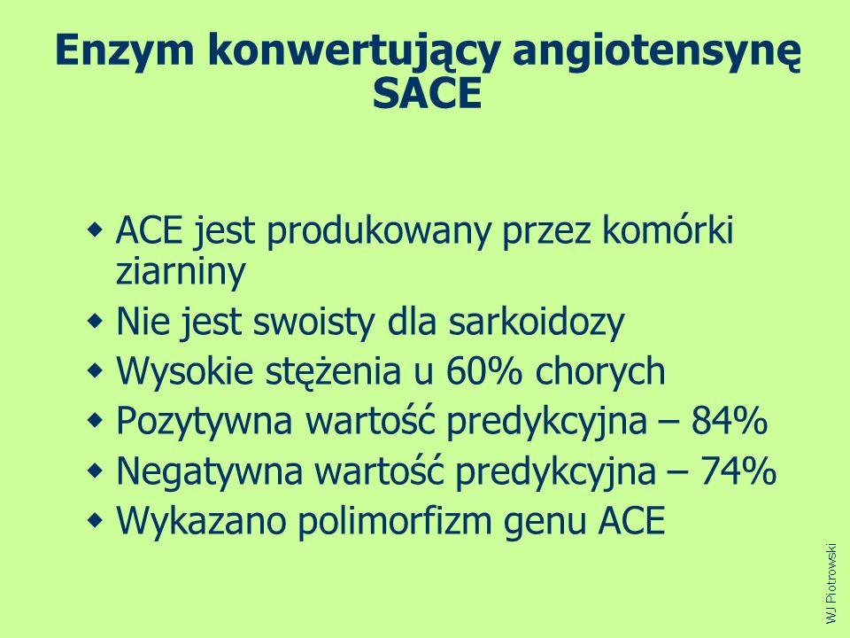 Enzym konwertujący angiotensynę SACE ACE jest produkowany przez komórki ziarniny Nie jest swoisty dla sarkoidozy Wysokie stężenia u 60% chorych Pozyty