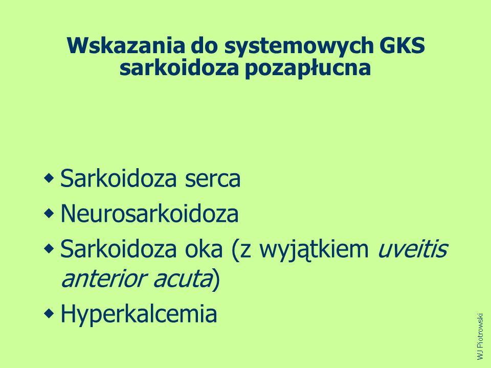 Wskazania do systemowych GKS sarkoidoza pozapłucna Sarkoidoza serca Neurosarkoidoza Sarkoidoza oka (z wyjątkiem uveitis anterior acuta) Hyperkalcemia