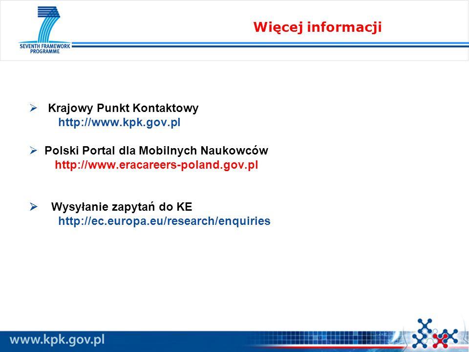 Krajowy Punkt Kontaktowy http://www.kpk.gov.pl Polski Portal dla Mobilnych Naukowców http://www.eracareers-poland.gov.pl Wysyłanie zapytań do KE http: