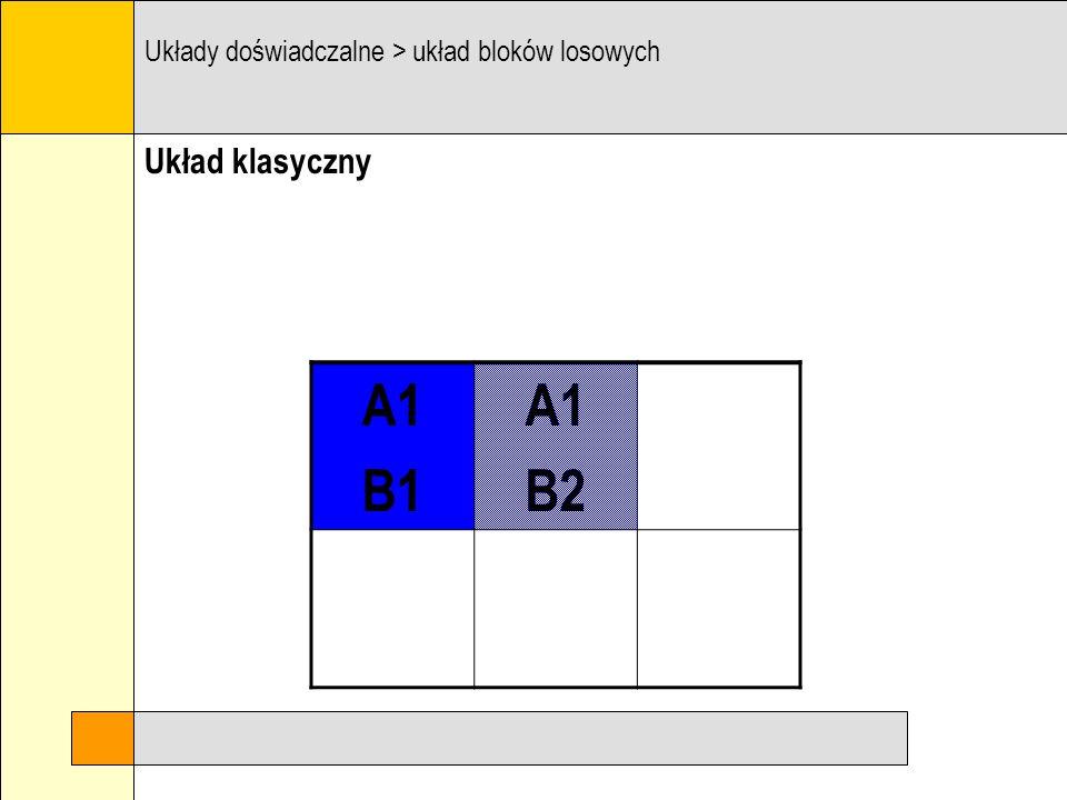 Układ klasyczny Układy doświadczalne > układ bloków losowych A1 B1
