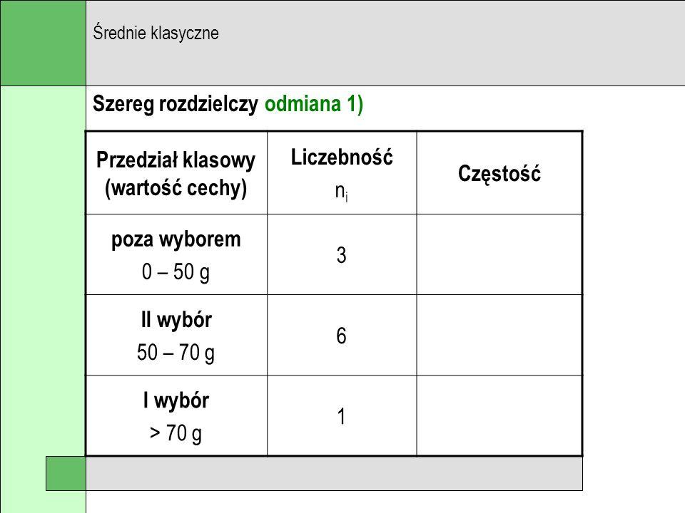 Szereg rozdzielczy odmiana 1) Średnie klasyczne Przedział klasowy (wartość cechy) Liczebność n i Częstość poza wyborem 0 – 50 g 3 II wybór 50 – 70 g 6