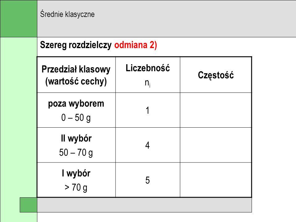 Szereg rozdzielczy odmiana 2) Średnie klasyczne Przedział klasowy (wartość cechy) Liczebność n i Częstość poza wyborem 0 – 50 g 1 II wybór 50 – 70 g 4