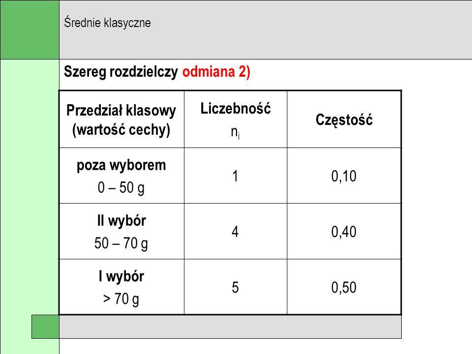 Szereg rozdzielczy odmiana 2) Średnie klasyczne Przedział klasowy (wartość cechy) Liczebność n i Częstość poza wyborem 0 – 50 g 10,10 II wybór 50 – 70