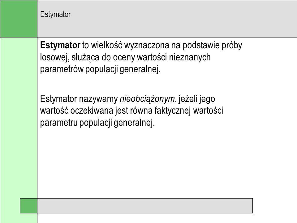 Estymator to wielkość wyznaczona na podstawie próby losowej, służąca do oceny wartości nieznanych parametrów populacji generalnej. Estymator nazywamy