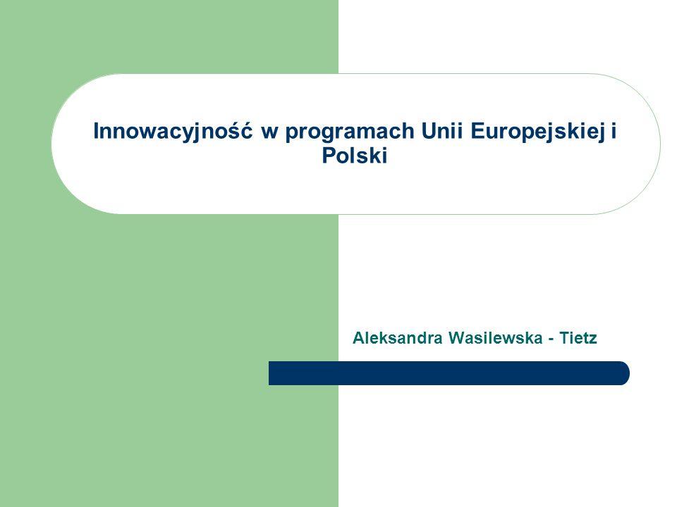 Innowacyjność w programach Unii Europejskiej i Polski Aleksandra Wasilewska - Tietz