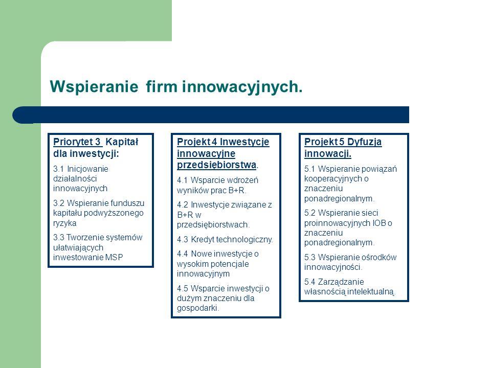 Wspieranie firm innowacyjnych. Priorytet 3 Kapitał dla inwestycji: 3.1 Inicjowanie działalności innowacyjnych 3.2 Wspieranie funduszu kapitału podwyżs