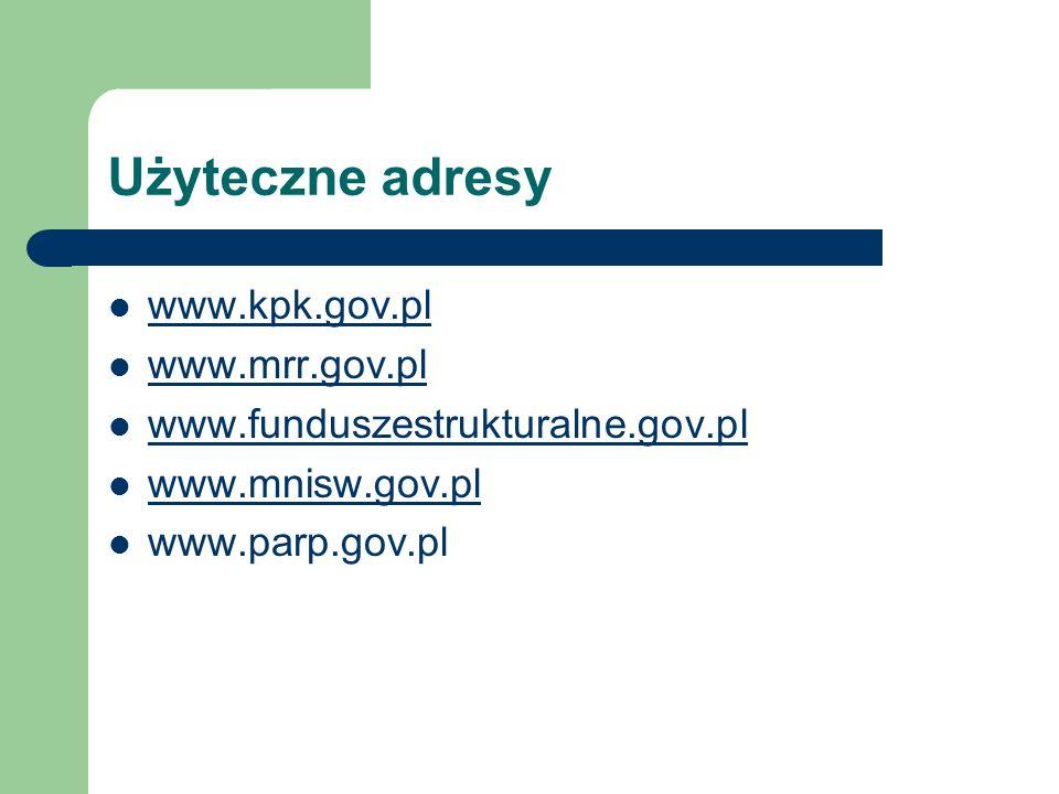 Użyteczne adresy www.kpk.gov.pl www.mrr.gov.pl www.funduszestrukturalne.gov.pl www.mnisw.gov.pl www.parp.gov.pl