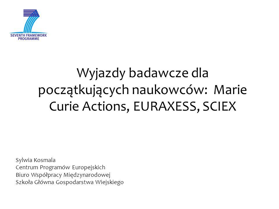 Wyjazdy badawcze dla początkujących naukowców: Marie Curie Actions, EURAXESS, SCIEX Sylwia Kosmala Centrum Programów Europejskich Biuro Współpracy Międzynarodowej Szkoła Główna Gospodarstwa Wiejskiego