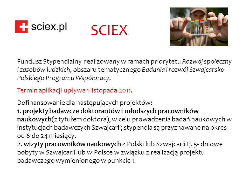 SCIEX Fundusz Stypendialny realizowany w ramach priorytetu Rozwój społeczny i zasobów ludzkich, obszaru tematycznego Badania i rozwój Szwajcarsko- Polskiego Programu Współpracy.